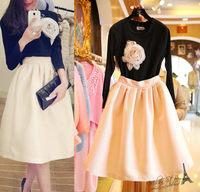 Free shipping 2014 autumn new women clothing set,skirt suit,women elegant flower long-sleeves Tee and knee-length skirt