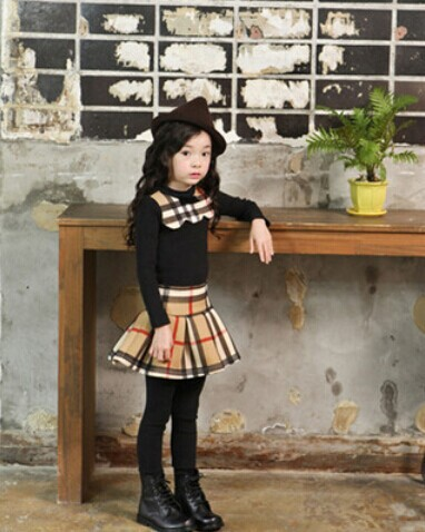 2014 New England style children's clothing girls thick winter models long-sleeved T-shirt + plaid culottes Tong Kit(China (Mainland))
