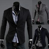 2014 British Fashion suit silm coats Mens casual Stunning slim fit Jacket Blazer Short Coat one Button suit