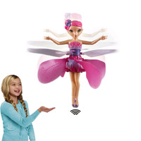 Pink Fairy Princess Fly Electronic Flying Toys Remote Control Plane Infrared Sense Aircraft for Kids Gift