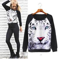 Rock 3D Tiger Pattern Loose Sweatshirt Punk Girl Fashion Novelty Pullovers Long Sleeve Hot Sale European Designer Tracksuit 1086