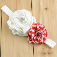 20pcs/lot  Satin Rose Flower with Hand sewing drill flower Christmas headband Photo props