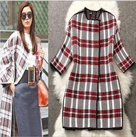 Women coat winter fashion 2014 woolen long  plus size wool desigual plaid warm brand coat manteau poncho  women