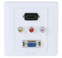 Free shipping 1 x HDMI 1 x VGA 3 x AV Wall Plate Coupler Socket, VA & HDMI & VGA Plug