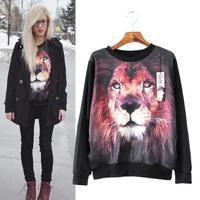 European Fall Sweatshirt Girl London Rock Punk Style Lions Print Long Sleeved Pullover Fashion Loose Street Tops Ropa Mujer 2086