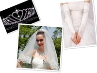 Glamorous One Layer Lace Wedding Veil Three Pieces Wedding Crown Long Wedding Gloves