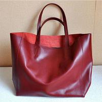 100% Genuine Leather Handbag Fashion Cowhide Shoulder Bag Cabas Big Bags Tote Shopping Bag