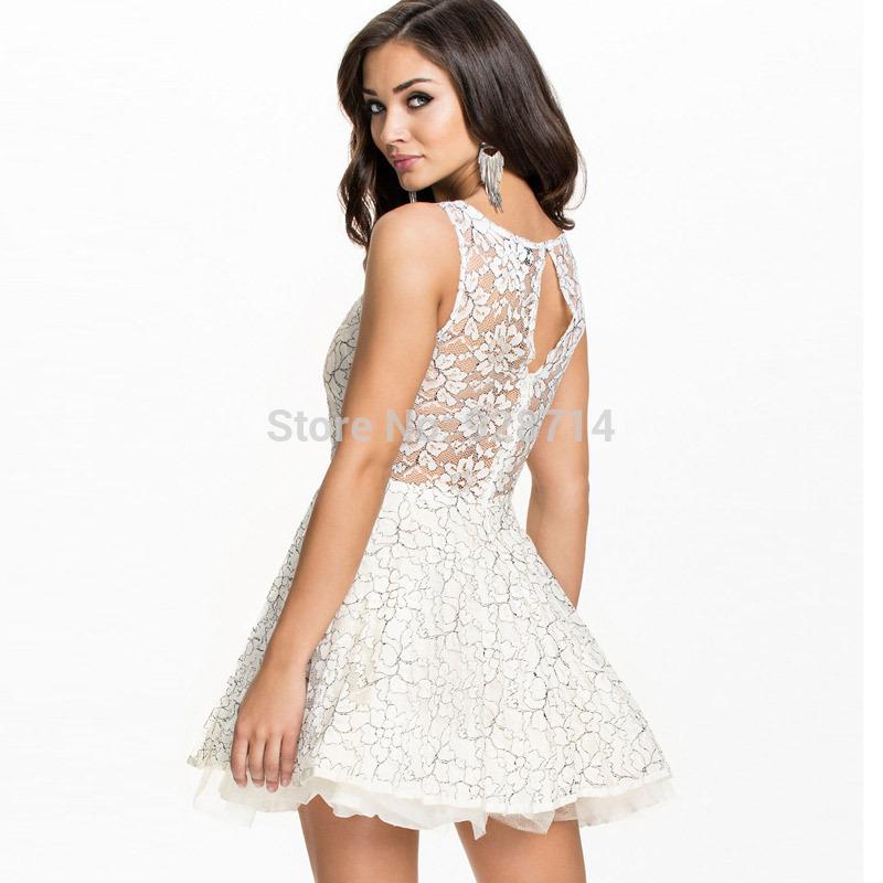 White Lace Dress Lace Princess Skater Dress