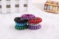 Korea fluorescent color thread flashing telephone coil crystal beads hair circle