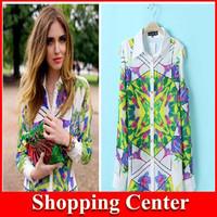 Free Shipping 2014 Hot Sale New Fashion Flowers Printing Long Sleeve Casual Women's Chiffon Shirt Tops Blouses dropshipping