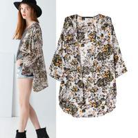 New 2014 national wind new Super beauty fashion slimming Flower printed kimono coat Beach Cover Ups V