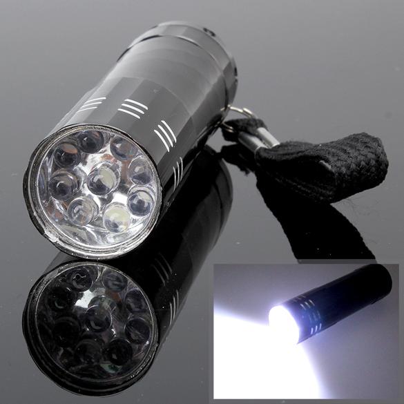 Portable 9 LED Mini LED Flashlights Super Bright LED Torch Light Outdoor Camping Flashlights Black E5M1(China (Mainland))