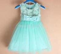 Wholesale New Party Dress Sequin Flower Children Princess Dress Sleeveless Bow-knot Exquisite Kid' Celebrity Dress 6pcs/lot