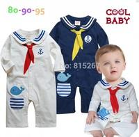 20PCS Newborn Navy Style Baby Boy Girls Long Sleeve Romper Kid's Cartoon Dolphin Sailor Bodysuits Jumpsuit Children Clothing
