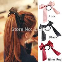 Fashion 3PCS Hair Accessories Women Ribbon Bow Hair Band Scrunchie Ponytail Holder Multi Color Hair Tie Rope H6554 P