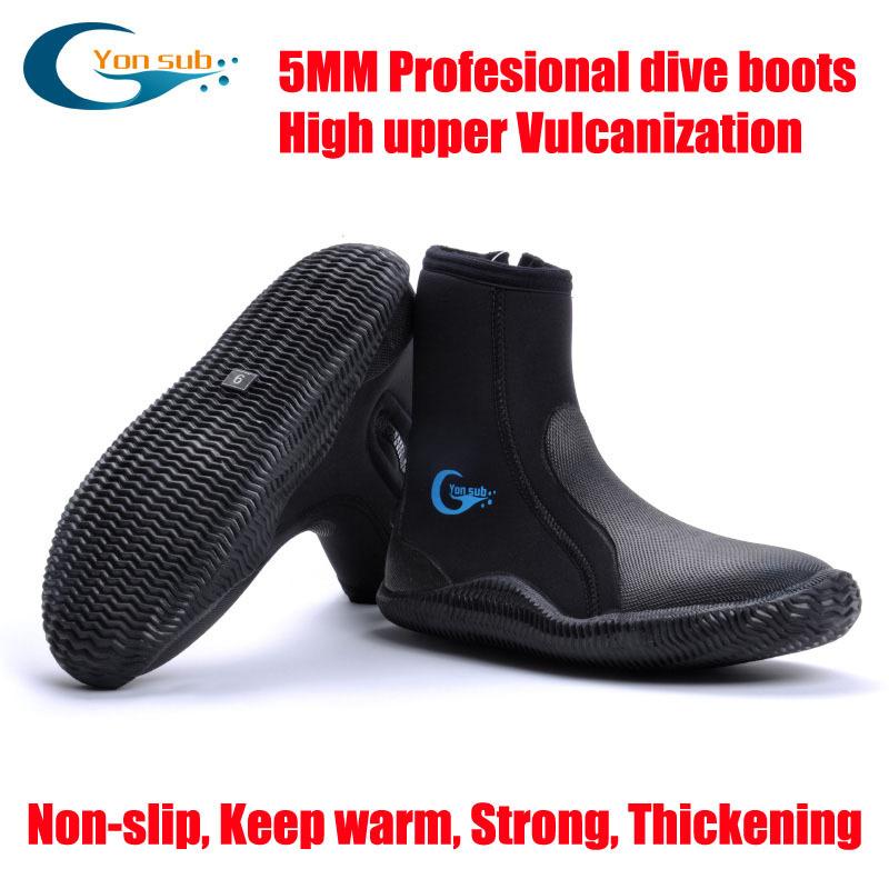 5MM SCR Neoprene Vulcanization High upper scuba dive boots Cold proof Anti slip Skid Keep warm shoes Fishing Winter swim Fins(China (Mainland))