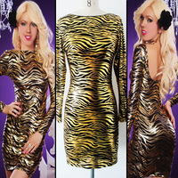 Free Shipping New High-level Ice Silk Backless Dresses Fashionable European and American Golden Nightclub Women One-Piece Dress