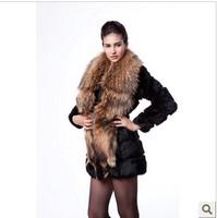 Faux 2014 large female raccoon fur rabbit fur slim medium-long outerwear