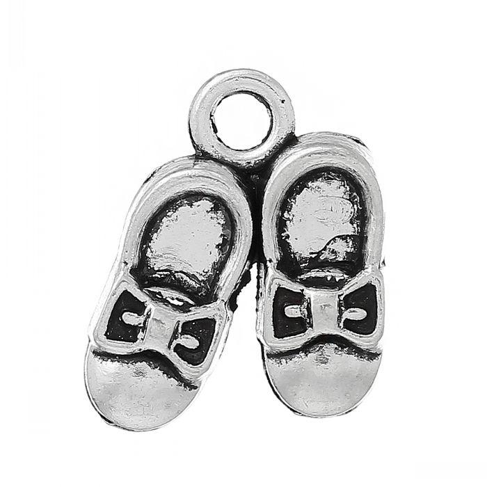 Supplier 8 Shoes Charm Pendants Shoes Antique Silver 17mm x 15mm 5 8 Quot x 5 8 Quot 100 Pcs mr