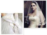 Glamorous Wedding Ribbon Short Veil Long Wedding Gloves
