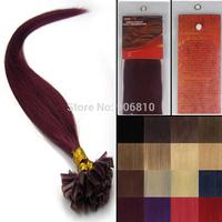 "18"" -22"" Pre-bonded Nail tip Natural Hair extensions keratin U tip hair extensions weaving Producrs #bug"