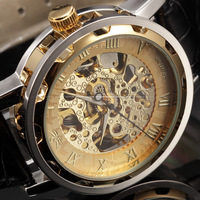 SEWOR Golden Skeleton Watches Men Mechanical Hand Wind Relogio Masculino Leather Strap Wristwatches Men Casual Watch / PMW299