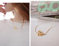 golden leaf short necklace 5pcs/lot