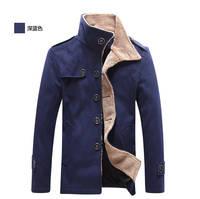 2014 new fashion men winter coat buttons wool coat men and  casual long coat men for men wool pea coat with  black coat 237B