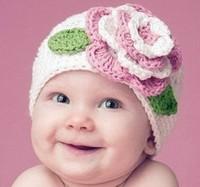 Newborn Baby Crochet Hat in Winter Baby Girl Boy Beanies Skullies Cap Colorful Flowers Warm Cap Bomber Hat Children Accessories