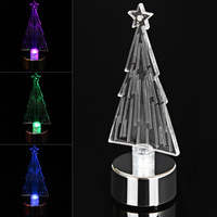 LED Candle Style Colorful Changing Mini Desktop Christmas Tree Lamp Christmas Ornament Decor Table Light Happy New Year Gift