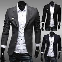 New Arrival Single Button Leisure Blazers Men Male 2014 Korean Fashion Slim Fit Casual Red Navy Blue Blazer Clothing