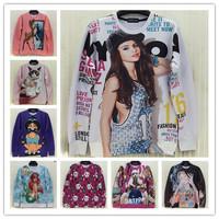 (Alice) free shipping 2014 new women sweatshirts 3d fashion cute cartoon smiling face long sleeve men no fleece hoodies