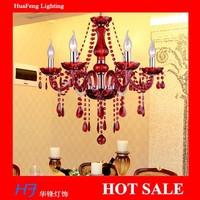 6 Lights Red  color modern Crystal led  chandelier  good quality