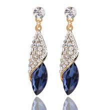 4 Colors Gold Plated Luxury Brand Women Geometric Crystal Tear Drop Long Wedding Earrings Charm Romantic Brincos Earring M11(China (Mainland))