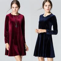 2014 autumn and winter new fashion women dress 3 color loose Velvet long sleeve A-line casual women dress S M L XL
