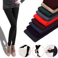 2014 New Arrival Women Leggings Slim Girls Casual Sport Leggings Warm Winter Knitted Faux Velvet Elastic Pants black free size