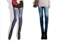 2014 new women thin Ladies wild snow Denim jeans Leggings pencil pants nine Leggings antnmn winter warm free shipping LE9004