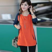 Mm autumn plus size plus size loose top medium-long women's long-sleeve T-shirt Women basic shirt