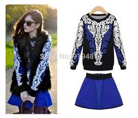 Free Shipping 2014 famous star brand casual dress knit sweater + short-skirt women vestidos suit 7975