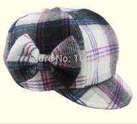 Autumn winter girls  hat  children high-end hand bow wool hat high quality