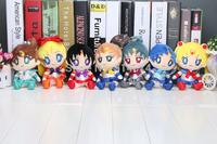 "7pcs/set 18cm 7"" Cartoon Sailor Moon Plush Stuffed Toys Key Chain Cell Phone Pendant Bag Pendant Sailor Moon Japanese"