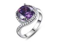 Fashion Rings For Women 2014 18K White Gold Plated Wedding Rings With Purple Crystal For Engagement Anel