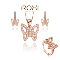 ROXI brand 2015 New arrival Butterfly Crystal Jewelry Sets Necklaces Rings and earring,Birthday/Christmas gifts AN
