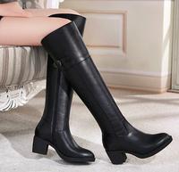 34-40 Size Women Genuine Leather Knee High Boots Round Toe Zipper Brand Designer Fashion Buckle Ladies Autumn Winter Black Boots