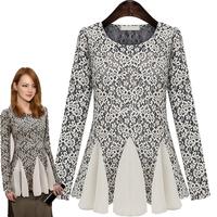 Classic Chiffon Lace Hollow Out Floral Women Blouses Fashion Blusas Femininas 2014 XZX19097