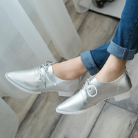 Spring and autumn pointed toe  lacing shoes casual shoes thick heel shoes all-match women's shoes