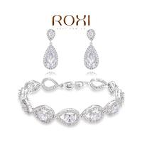 ROXI luxury Crystal platinum Set 100% Hand made Fashion Jewelry sets Earrings+Bracelet Christmas Gift AN