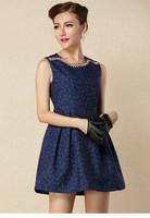 Top Quality Vintage Deep Blue Flower Embroidery Neck Slim Waist Sleeveless Women's Autumn Winter Beading Dresses t135- 731