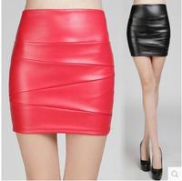 2014 New Fashion Autumn Women's PU Skirt High waist A-line Leather Slim Hip PU Short Skirt