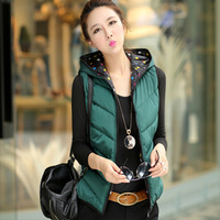 XL-3XL 2014  female autumn and winter plus size cotton down vest short design with a  vest waistcoat fashion outerwear